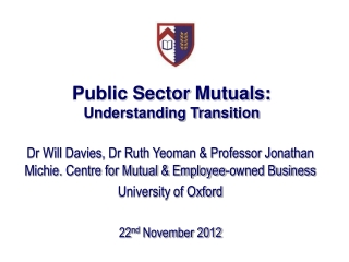 Public Sector  Mutuals : Understanding Transition