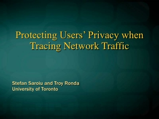 Protecting Users' Privacy when Tracing Network Traffic