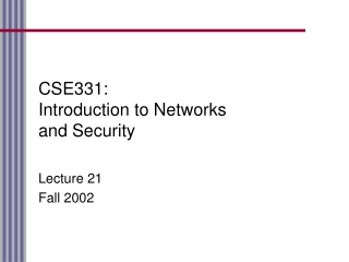 CSE331: Introduction to Networks and Security