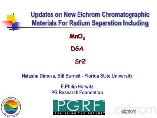 Updates on New Eichrom Chromatographic Materials For Radium Separation Including