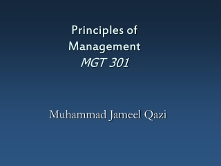 Principles of Management MGT 301