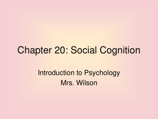 Chapter 20: Social Cognition