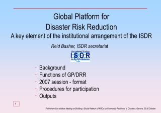 Background  Functions of GP/DRR  2007 session - format Procedures for participation  Outputs