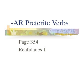 -AR Preterite Verbs