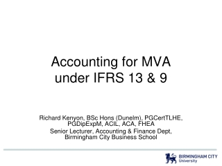 Accounting for MVA under IFRS 13 & 9