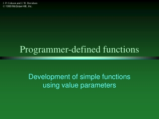 Programmer-defined functions