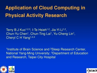 Application of Cloud Computing in  Physical Activity Research