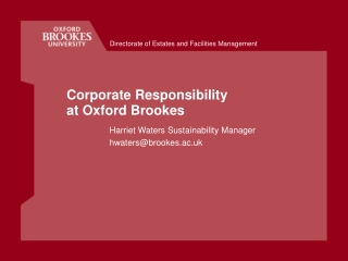 Corporate Responsibility at Oxford Brookes