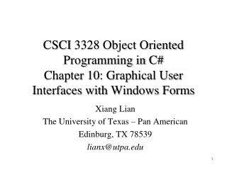 Xiang Lian The University of Texas – Pan American Edinburg, TX 78539 lianx@utpa