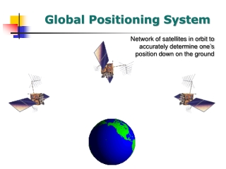 Network of satellites in orbit to accurately determine one's position down on the ground