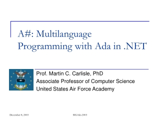 A#: Multilanguage Programming with Ada in .NET