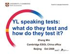 YL speaking tests:  what do they test and how do they test it