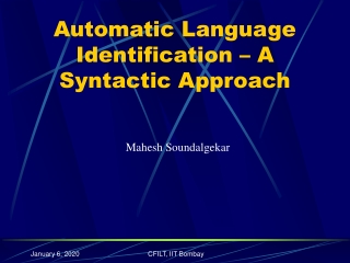 Automatic Language Identification – A Syntactic Approach