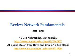 Review Network Fundamentals