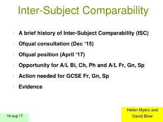 Inter-Subject Comparability