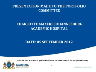 To be the best provider of quality health and social services to the people in Gauteng .