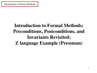 Introduction to Formal Methods