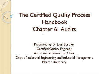 The Certified Quality Process Handbook Chapter 6:  Audits