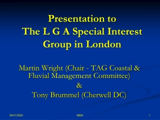 Presentation to  The L G A Special Interest Group  in London