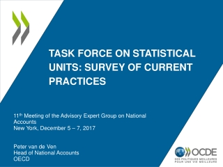 Task force on statistical  units: survey  of current  practices