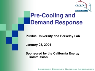 Pre-Cooling and Demand Response