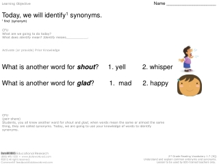 Learning Objective Name _____________________ Today, we will identify 1  synonyms.
