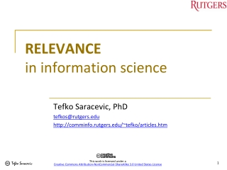 RELEVANCE  in information science