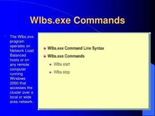 Wlbs.exe Commands