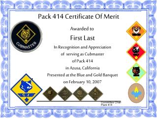 Pack 414 Certificate Of Merit