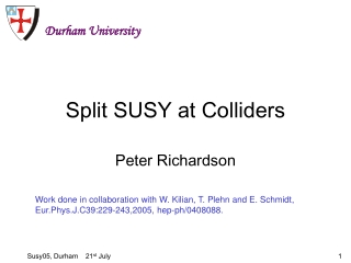 Split SUSY at Colliders