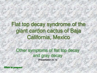 Flat top decay syndrome of the giant cardon cactus of Baja California, Mexico
