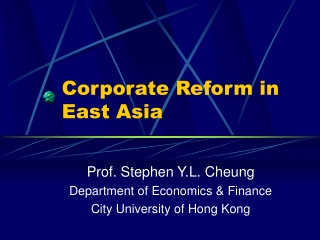 Corporate Reform in East Asia