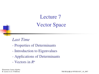 Lecture 7  Vector Space