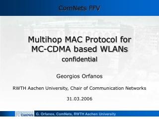 Multihop MAC Protocol for MC-CDMA based WLANs confidential