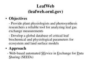 LeafWeb (leafweb.ornl)