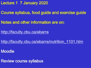 Lecture 1  7 January 2020 Course syllabus, food guide and exercise guide