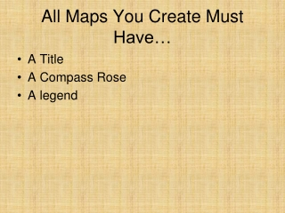 All Maps You Create Must Have…
