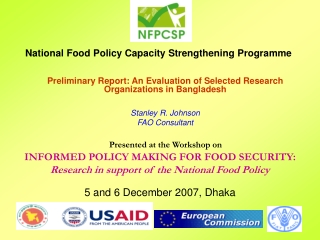 Preliminary Report: An Evaluation of Selected Research Organizations in Bangladesh