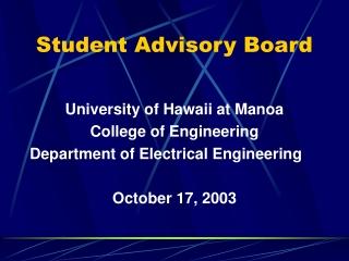 Student Advisory Board