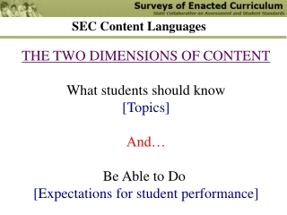 THE TWO DIMENSIONS OF CONTENT What students should know [Topics] And… Be Able to Do