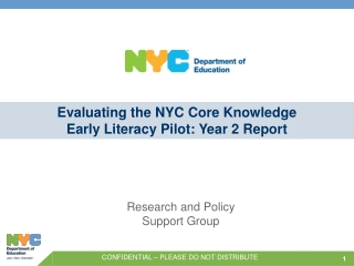 Evaluating the NYC Core Knowledge Early Literacy Pilot: Year 2 Report