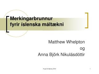 Merkingarbrunnur  fyrir íslenska máltækni
