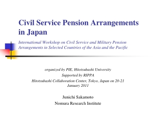organized by PIE, Hitotsubashi University Supported by RIPPA
