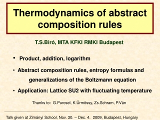Thermodynamics of abstract composition rules