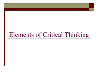 Elements of Critical Thinking