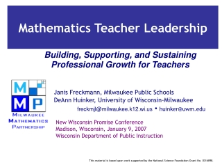 Building, Supporting, and Sustaining Professional Growth for Teachers