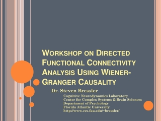 Workshop on Directed Functional Connectivity Analysis Using Wiener-Granger Causality