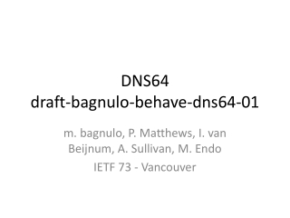 DNS64 draft-bagnulo-behave-dns64-01
