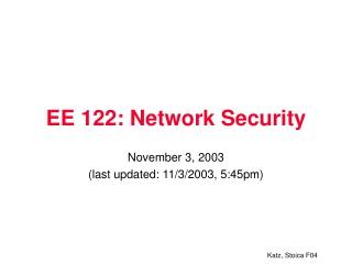 EE 122: Network Security