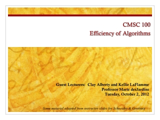 CMSC 100 Efficiency of Algorithms